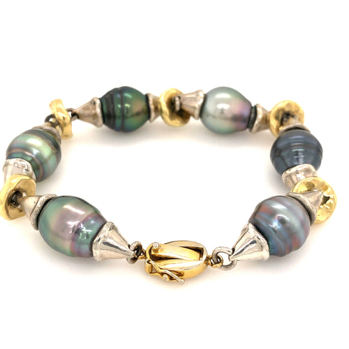 18K Yellow Gold South Sea Pearl Bracelet with 6 Pearls in Assorted Colors and Shapes with Sterling Silver Accent Beads, Sterling Silver Jump Rings Throughout Bracelet with Fold Over Safety Clasp | Blacy's Vault