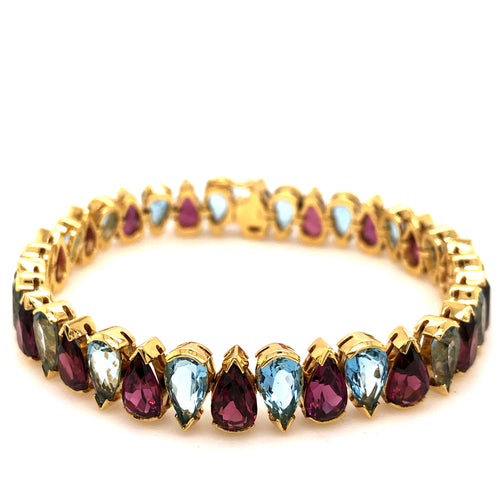 Aquamarine and Rhodolite Garnet Tennis Bracelet,18K Yellow Gold 36 Pear Shaped AAA Quality | Blacy's Fine Jewelers