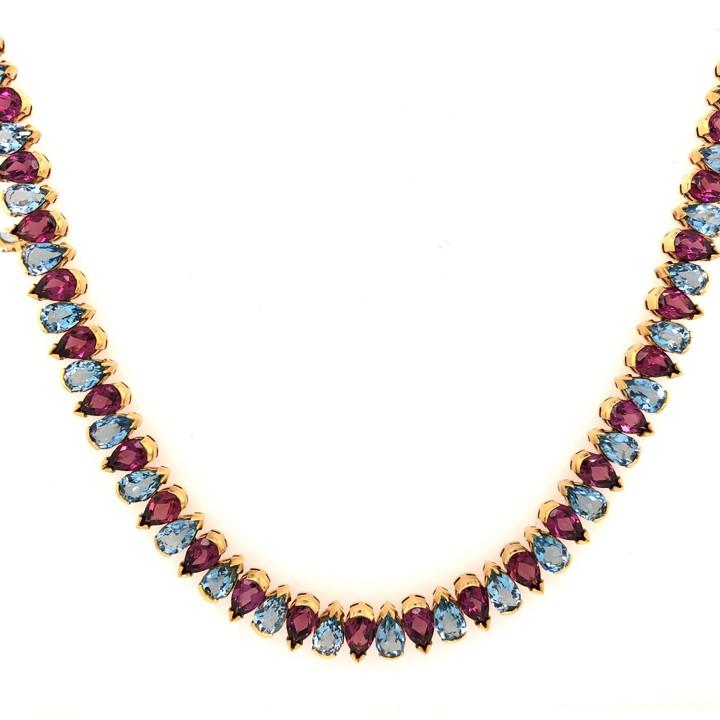 Aquamarine and Rhodolite Garnet Tennis Necklace,18K Yellow Gold 100 Pear Shaped AAA Quality | Blacy's Vault