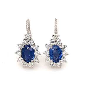 Natural Cornflour Blue Sapphire .45ctw and Diamond .25ctw Halo 14K White Gold Leverback Earrings | Blacy's Vault