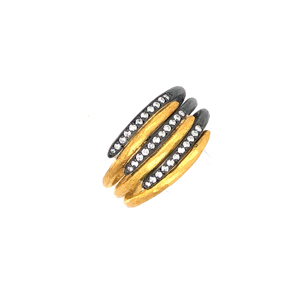 Lika Behar Diamond 0.18ctw 24k Gold and Oxidized Silver 6 Layer Zebra Ring | Blacy's Vault