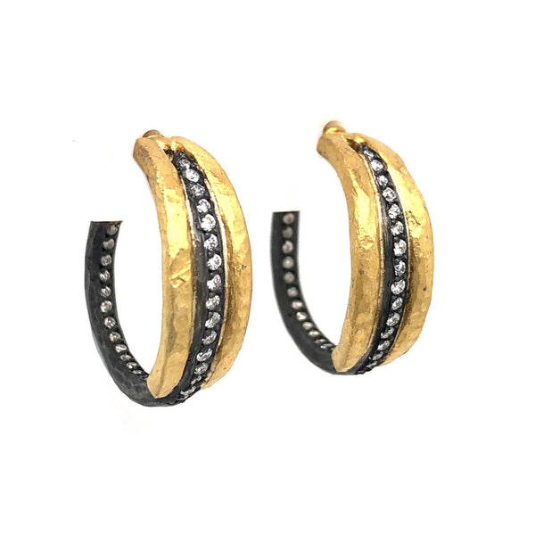 24k Gold and Oxidized Silver 3 Row Zebra Diamond 0.07ctw Lika Behar Hoop Earrings with 18K Yellow Gold Post and Backings | Blacy's Vault