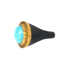Load image into Gallery viewer, Cognac Diamond 0.41ctw 24K Gold and Oxidized Silver Pompei Ring East West Oval Cabochon Kingman Turquoise Measures 13x18 mm | Blacy's Vault
