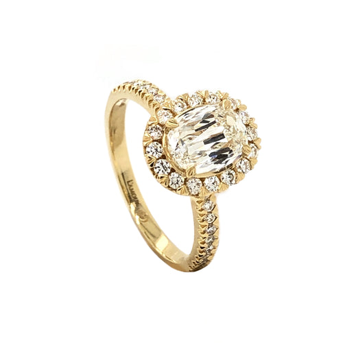 Christopher Designs L'amour Crisscut Halo Oval Engagement Ring Half Eternity Shank 18K Yellow Gold | Blacy's Fine Jewelers
