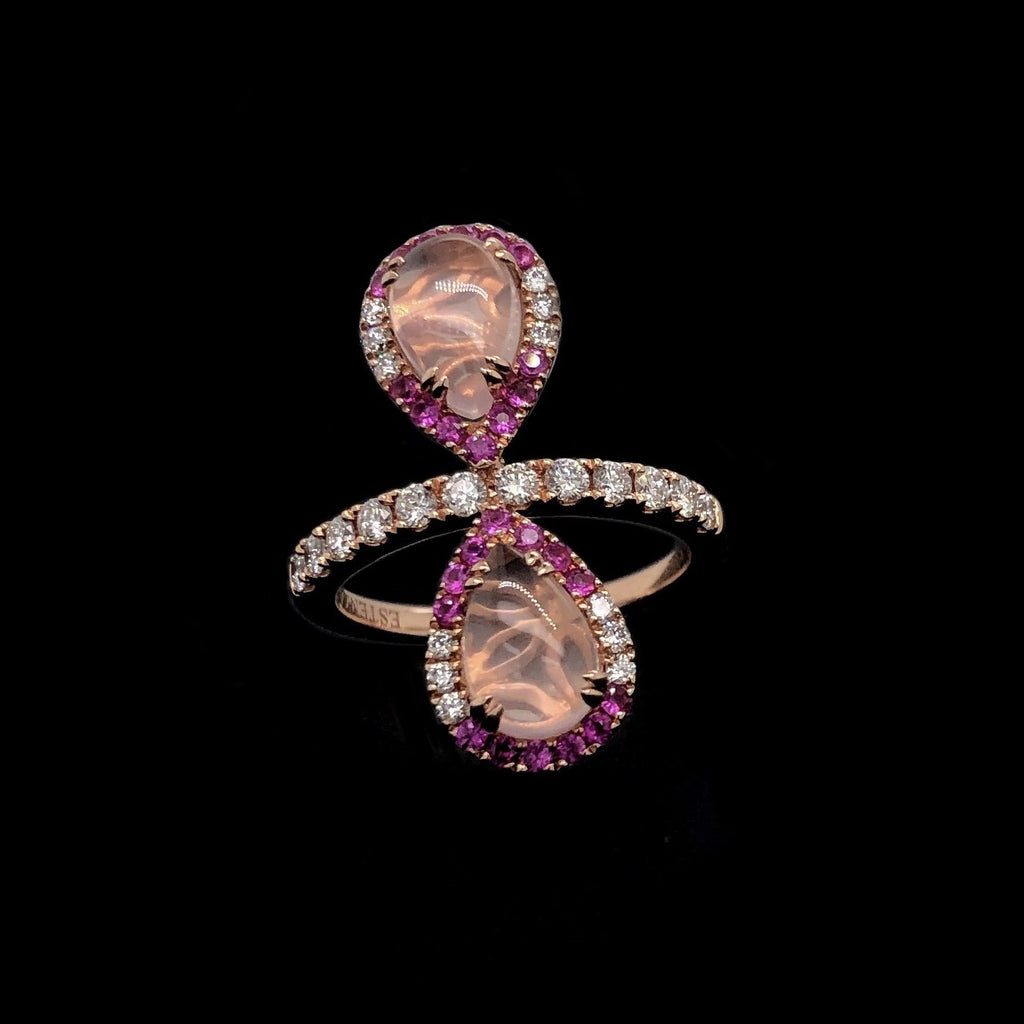 Rose Quartz And Pink Sapphire Halo Ring 14K Rose Gold | Blacy's Fine Jewelers