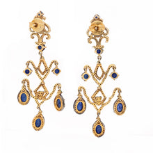 Load image into Gallery viewer, Sapphire and Black Diamond Chandelier Dangle Earrings Sterling Silver and Gold Vermeil | Blacy's Fine Jewelers Blacys Vault