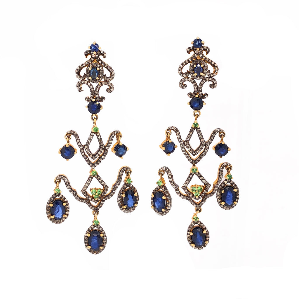 Sapphire and Black Diamond Chandelier Dangle Earrings Sterling Silver and Gold Vermeil | Blacy's Fine Jewelers Blacys Vault