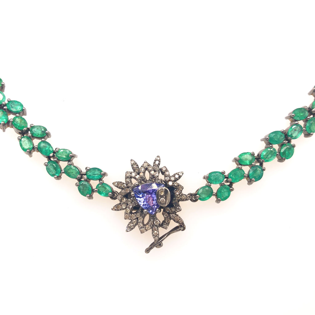 Diamond, Emerald, Tanzanite and Sterling Silver Elegant Evening Necklace | Blacy's Fine Jewelers