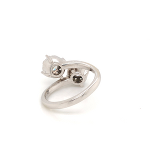 One Of A Kind Memoire 14K White Gold Hearts on Fire Bypass Bouquet Ring | Blacy's Vault