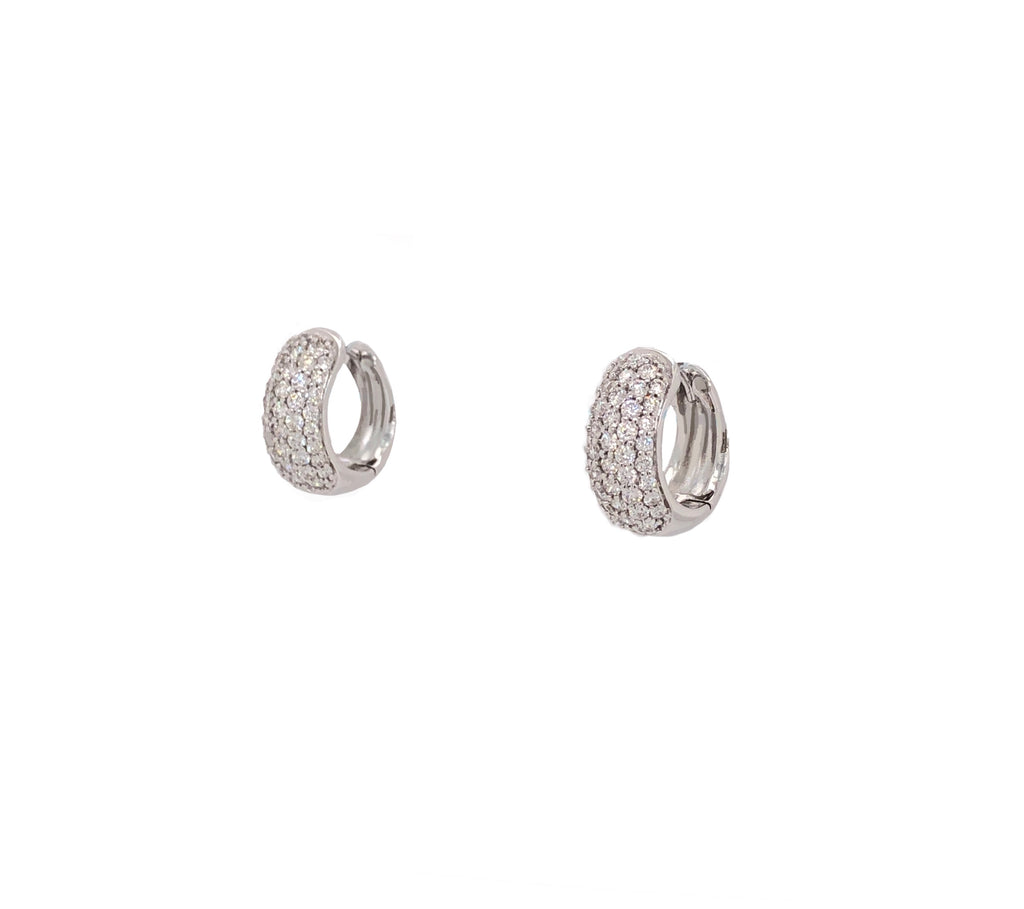 Memoire White Gold 5 Row 88 Round Brilliant Diamond .80 ctw Pave Huggies Earring | Blacy's Fine Jewelers
