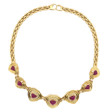 Load image into Gallery viewer, Panther Seven Hearts Shaped Ruby and Diamond Necklace Ruby Equals 20 ctw Diamonds Equals 1.75 ctw 18K Yellow Gold | Blacy's Fine Jewelers