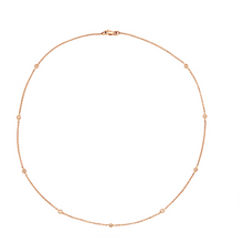 Load image into Gallery viewer, 18K Rose Gold 16 inch Chain Diamonds By the Yard 9 Round Brilliant Diamonds equals to .20ctw | Blacy's Fine Jewelers