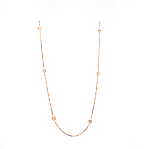 18K Rose Gold 16 inch Chain Diamonds By the Yard 9 Round Brilliant Diamonds equals to .20ctw | Blacy's Fine Jewelers