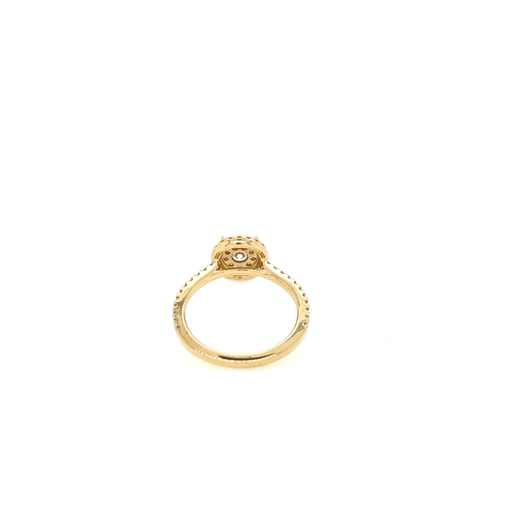 18K Yellow Gold Memoire Bouquet Round Halo Engagement Ring with Diamond Shank 52 Round brilliant diamonds equals to .71ctw | Blacy's Vault