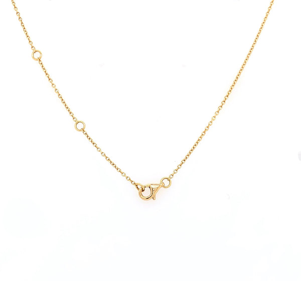 18K Yellow Gold Milgrain Circle Necklace Containing 10 Round Brilliant Diamonds Equals to .22 ctw 18 Inch Long | Blacy's Vault