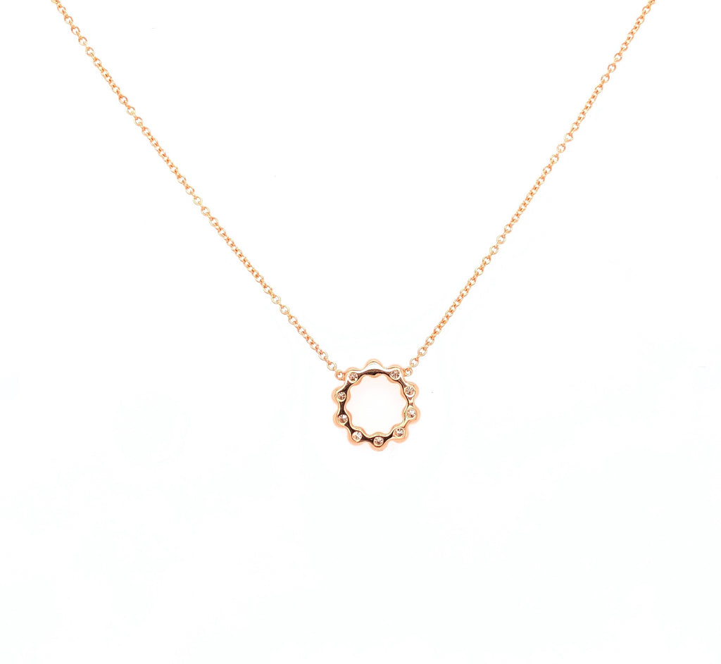 18K Rose Gold Milgrain Circle Necklace Containing 10 Round Brilliant Diamonds Equals to .22 ctw 18 Inches Long Adjustable Length | Blacy's Fine Jewelers