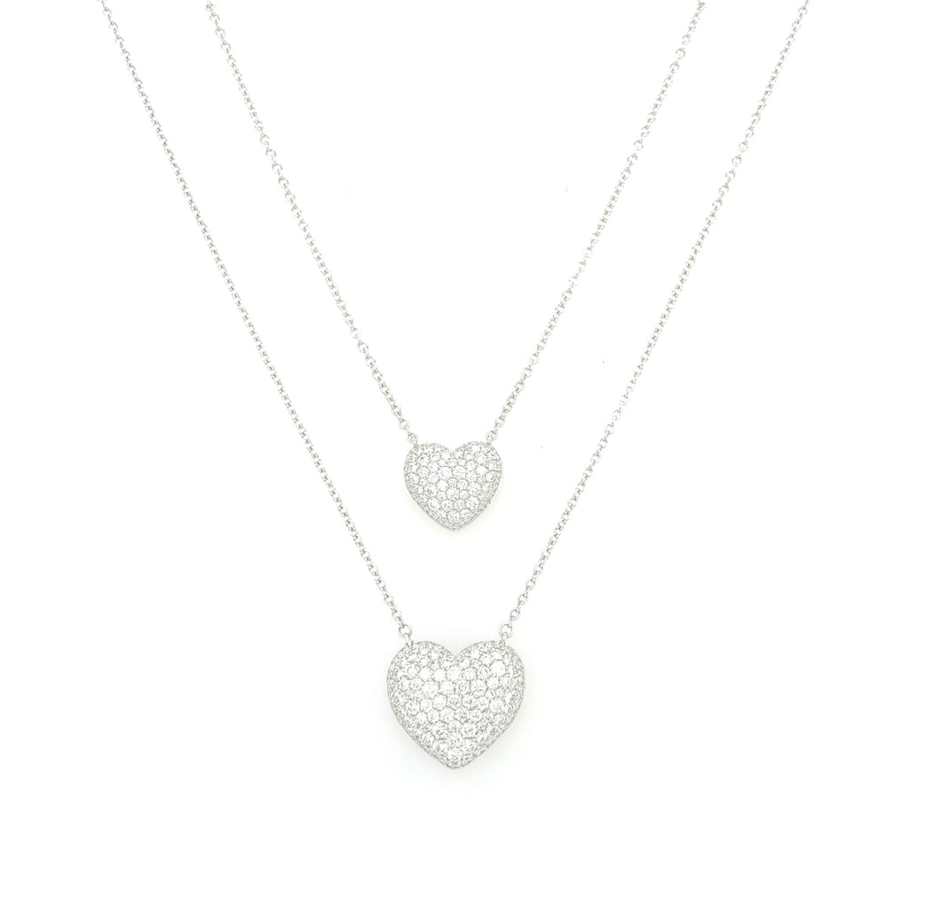 Memoire 18K White Gold Heart Shaped Pendant 56 Round Brilliant Diamond equals to 1.09 ctw Adjustable Chain 3 Length Options 18 Inches Long | Blacy's Fine Jewelers, Memoire