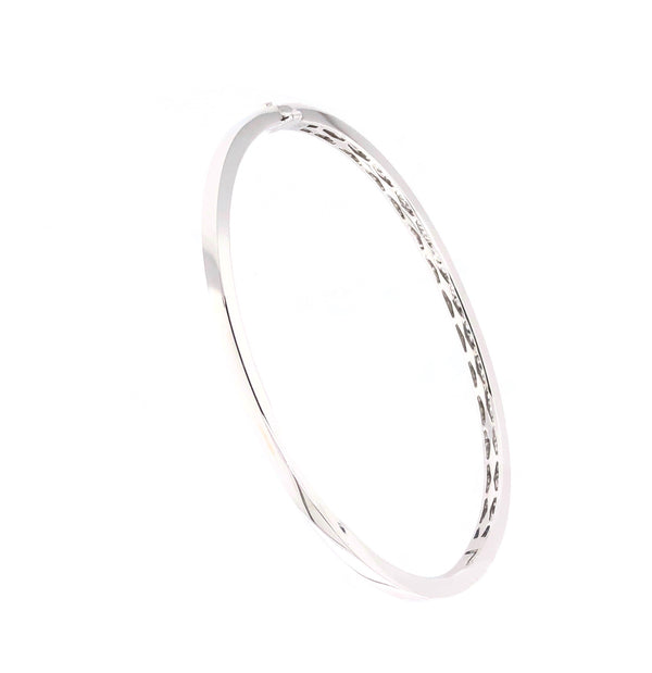 Memoire 18K White Gold Milgrain Hinge Bangle 46 Round Brilliant Diamonds equals .76 ctw | Blacy's Fine Jewelers, Memoire
