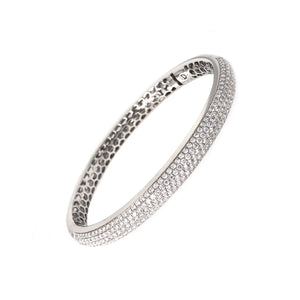 18K White Gold 5 Row Pave Bangle Bracelet 266 Diamonds equals 3 ctw S Hinge Wide Opening for Effortless On and Off | Blacy's Fine Jewelers, Memoire
