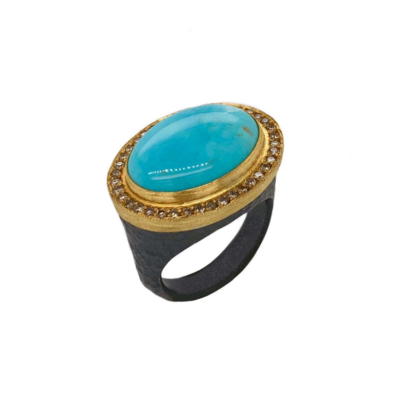 Cognac Diamond 0.41ctw 24K Gold and Oxidized Silver Pompei Ring East West Oval Cabochon Kingman Turquoise Measures 13x18 mm | Blacy's Vault