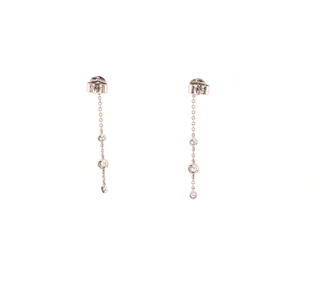 Memoire 18K White Gold Cascade Drop Pierced Post Earrings 8 Diamonds equals .48 ctw 40mm Long | Blacy's Fine Jewelers, Memoire