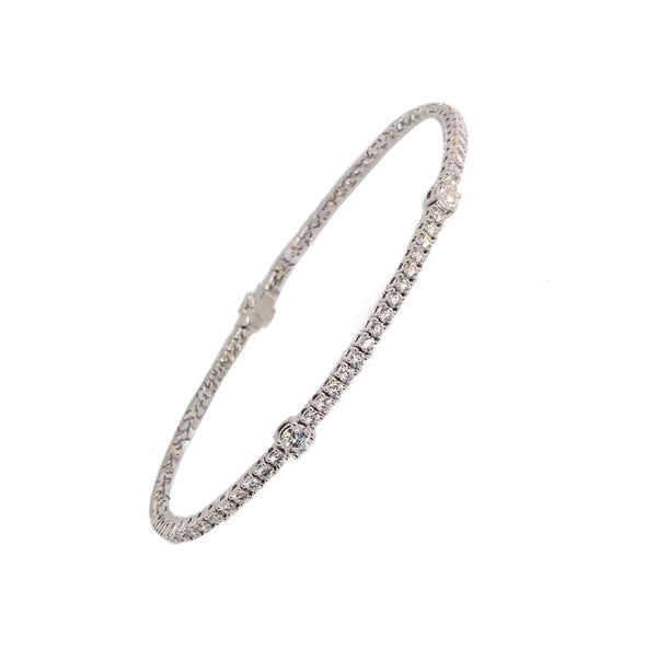 Memoire 18K White Gold Tennis Diamond 2.74ctw Bracelet | Blacy's Vault