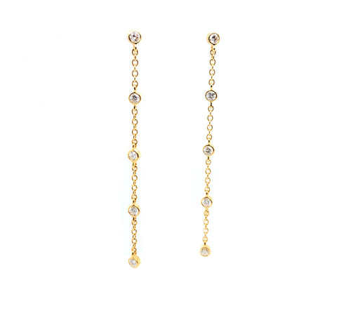Memoire 18K Yellow Gold Cascade Drop Pierced Post Earrings 10 Dia equals .26 ctw 45 mm Long | Blacy's Fine Jewelers, Memoire