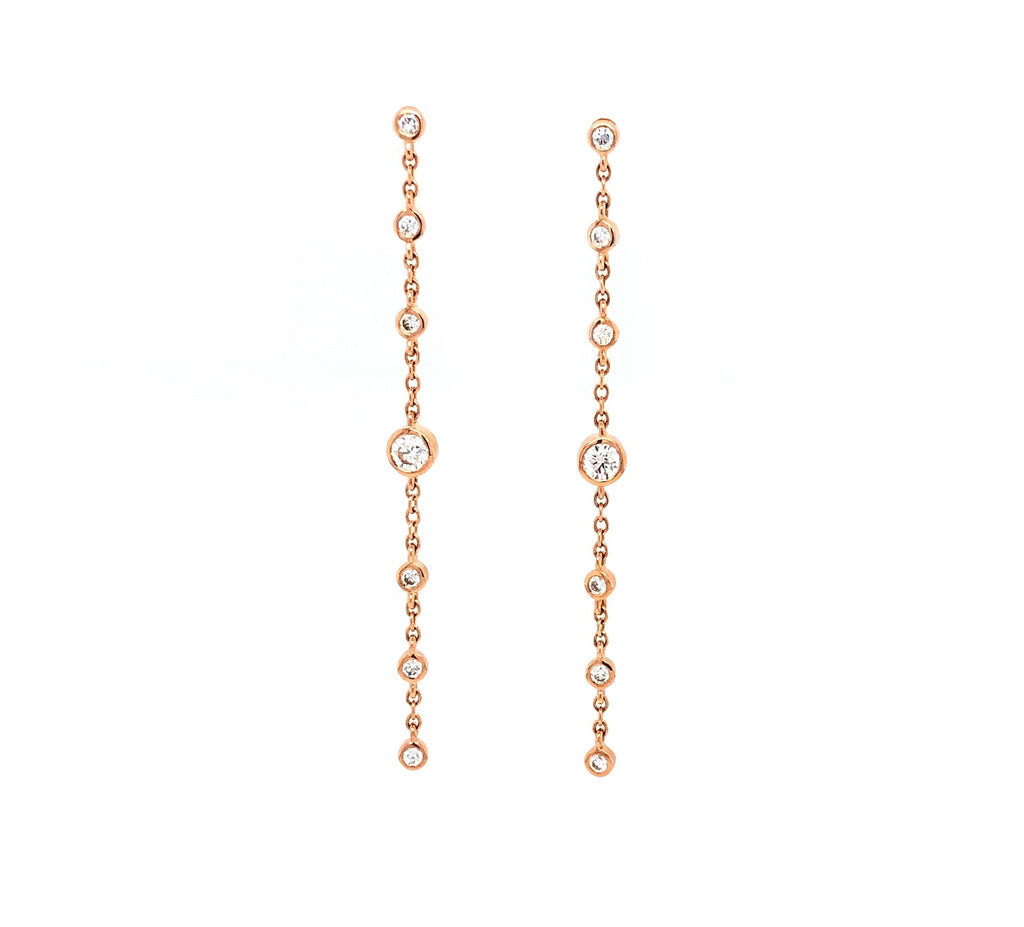 Memoire 18K Rose Gold Cascade Drop Pierced Post Earrings 14 Diamonds equals .34 ctw 45 mm Long | Blacy's Fine Jewelers, Memoire