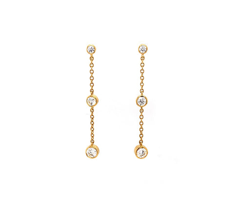 Memoire 18K Yellow Gold Cascade Drop Pierced Post Earrings 6 Diamonds equals .50 ctw 34 mm Long | Blacy's Fine Jewelers, Memoire