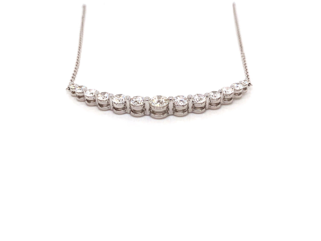 Memoire 18K White Gold Smile Necklace 13 Diamonds Equals 2.02 ctw 3 Adjustable Lengths | Blacy's Fine Jewelers, Memoire