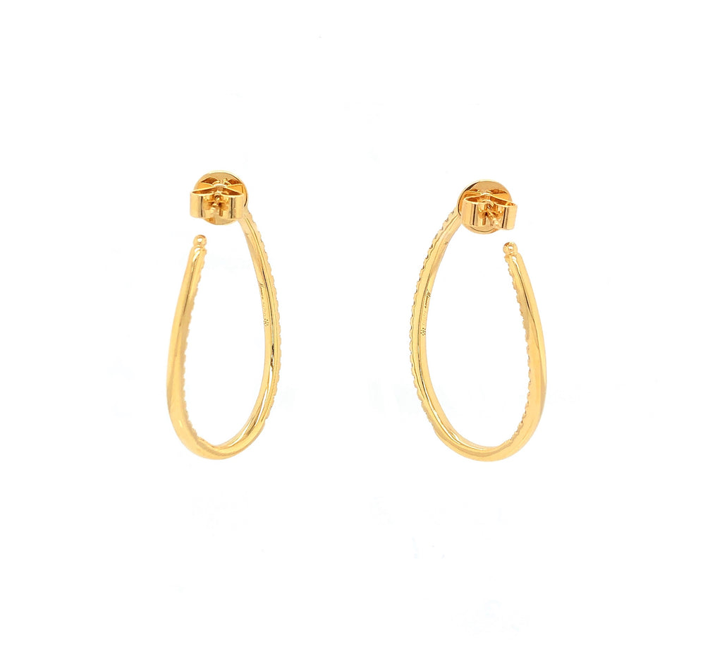 Memoire Shared Prong 18K White Gold Twist Hoops Diamonds Equal .89 ctw | Blacy's Vault