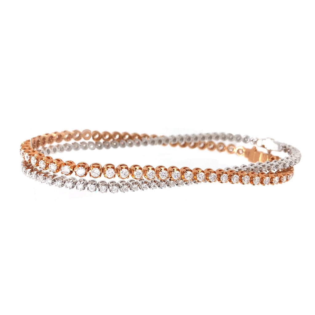 Memoire 18K Rose Gold Tennis Bracelet Round Brilliant Diamonds equals 2.02 ctw w/ Safety Clasp | Blacy's Fine Jewelers, Memoire