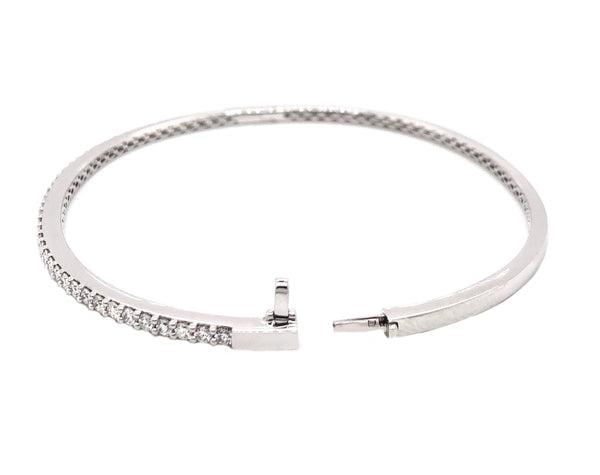 Memoire 18K White Gold Bangle 40 Diamonds Equals 1.07 ctw Bangle Diameter Measures 2.5 Inches | Blacy's Fine Jewelers, Memoire