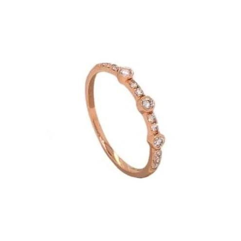 Alternating Large and Small Round Brilliant Cut Diamonds 0.20 ctw Stackable Band 14K Rose Gold | Blacy's Fine Jewelers