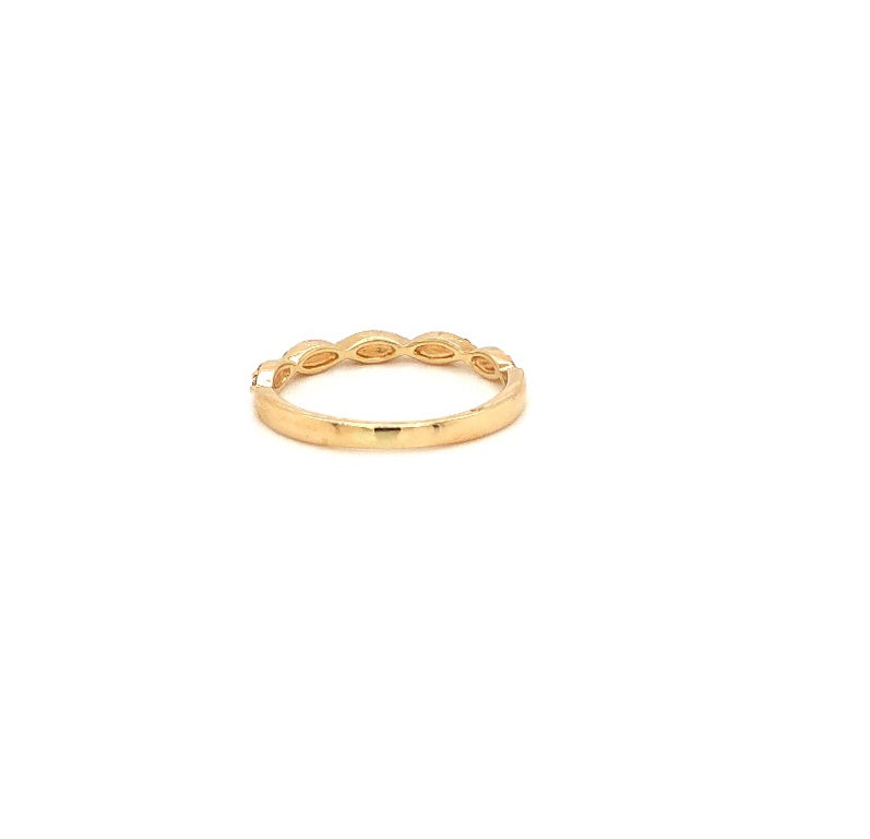 14K Yellow Gold Triple Diamond Marquis Stackable Band 15 Round Brilliant Diamonds .25 ctw | Blacy's Fine Jewelers