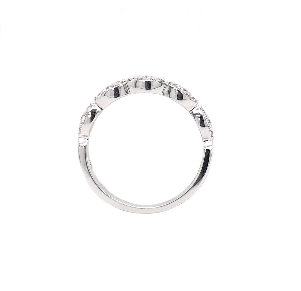 14K White Gold Triple Diamond Marquis Stackable Band 15 Round Brilliant Diamonds .25 ctw | Blacy's Vault