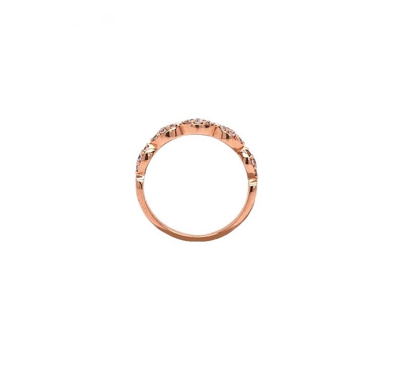 14K Rose Gold Triple Diamond Marquis Stackable Band 15 Round Brilliant Diamonds .25 ctw | Blacy's Fine Jewelers