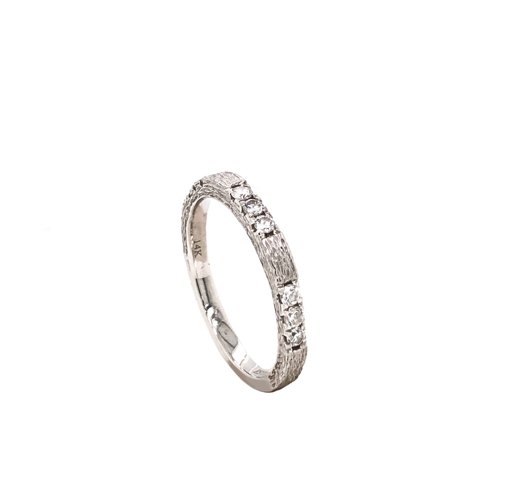 14K White Gold Heavily Textured Bark Finish Wedding band 9 Round Brilliant Diamonds equals 0.30ctw | Blacy's Fine Jewelers