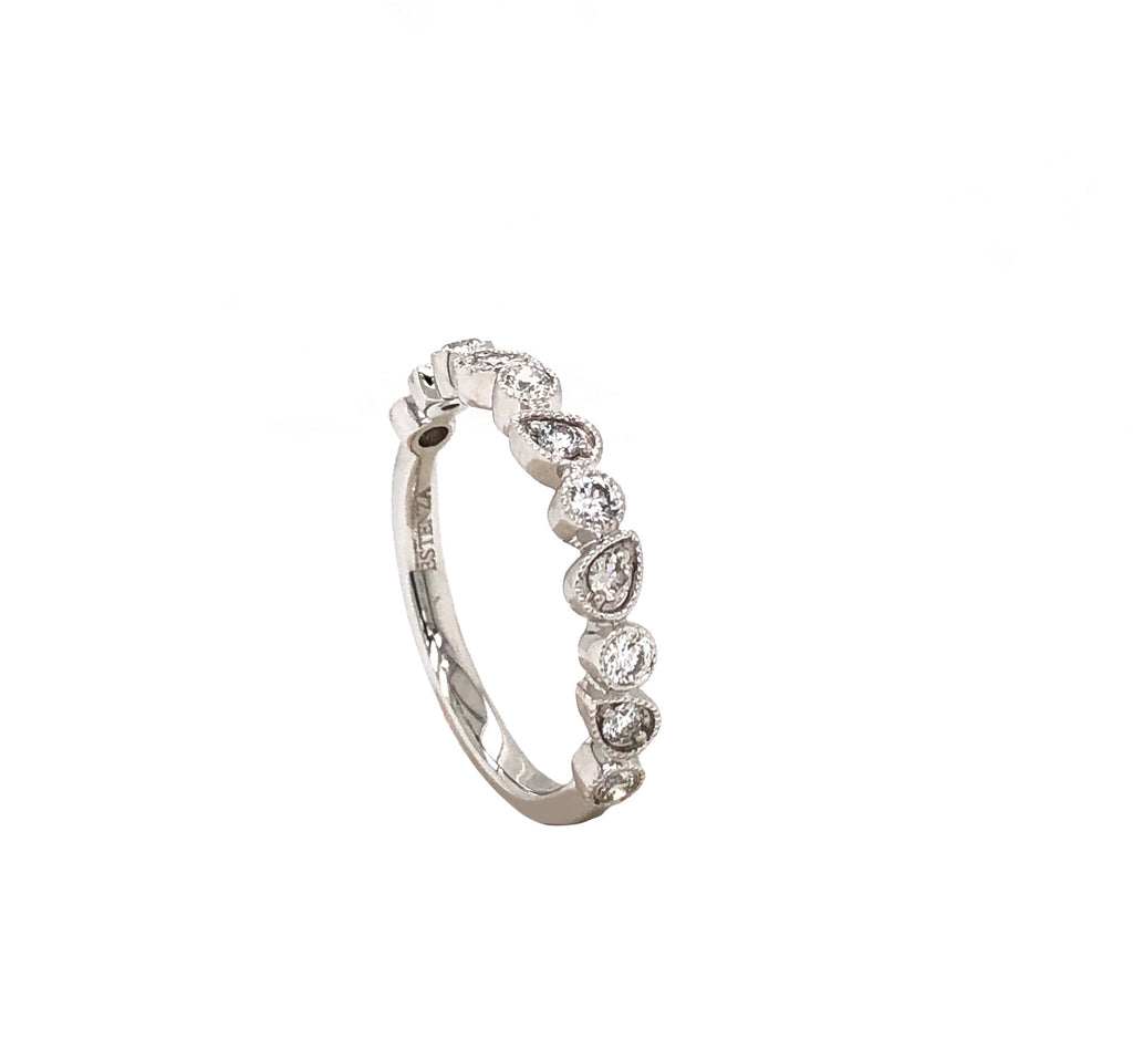 14K White Gold Circle and Marquis Alternating Shaped Stackable Ring 11 Round Brilliant Diamonds equals to .36ctw | Blacy's Fine Jewelers