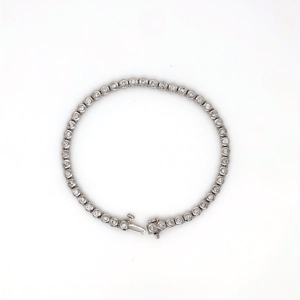 Platinum Bezel Set Round Brilliant Cut Diamond Bracelet 2.05 ctw w/Safety Clasp | Blacy's Fine Jewelers Blacys Vault
