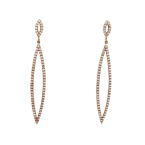 Double Marquise Dangle Earrings Diamonds 0.72 ctw 18K Rose Gold | Blacy's Fine Jewelers Blacys Vault