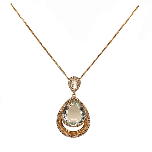 Dangling Pendant Light Green Quartz and Diamond Halo Necklace 14K Yellow Gold
