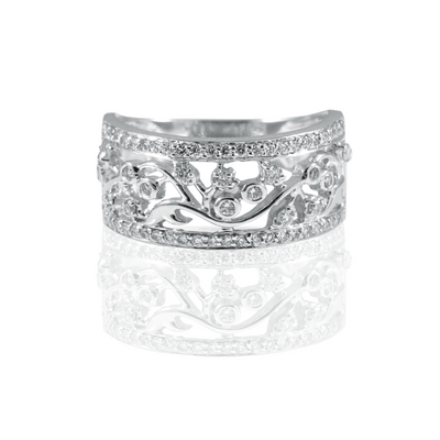 14K White Gold Pave Band Ring Round Brilliant Diamonds equals to 0.55ctw | Blacy's Fine Jewelers