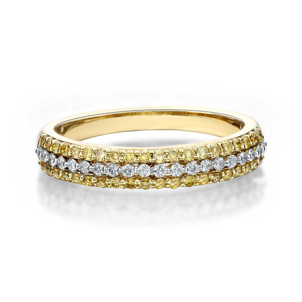 White and Yellow Diamond 3 Row Band 40 Yellow and 20 White Diamonds equals 0.55 ctw 14K Yellow Gold | Blacy's Fine Jewelers