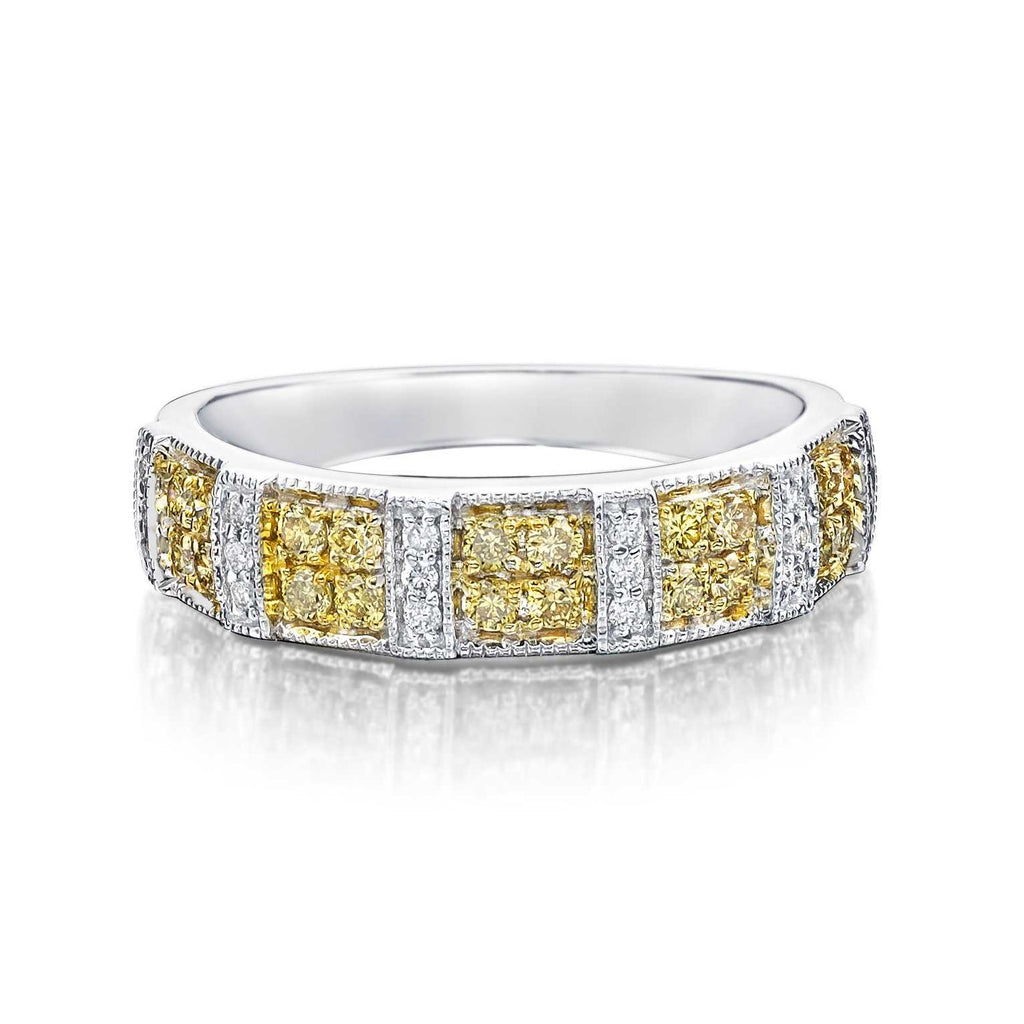 14K White Gold Yellow Diamond Bands 20 Yellow Diamonds and 18 White Diamonds Equal to .55ctw | Blacy's Fine Jewelers