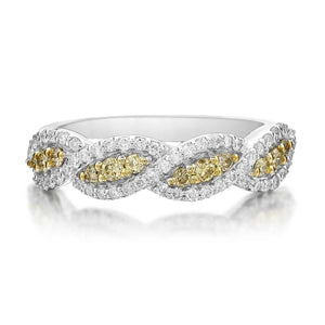 14K White Gold Wave Band with 68 White Diamonds and 12 Yellow Diamonds Equals .60 ctw | Blacy's Fine Jewelers