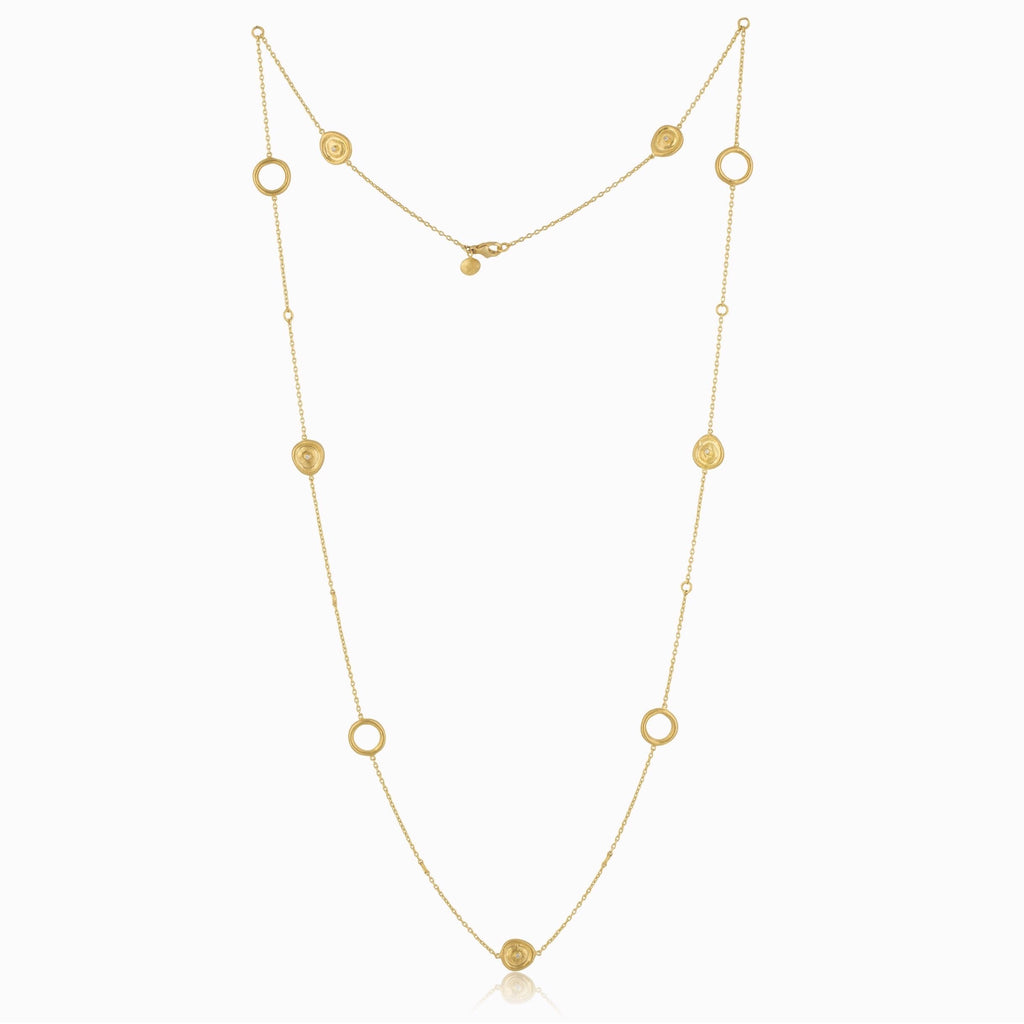 Lika Behar Collection Roundabout Versatile Necklace with Rondettes and Diamonds 24K Gold | Blacy's Fine Jewelers