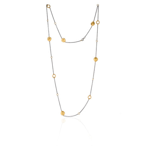 Lika Behar Roundabout Necklace with Rondettes and Diamonds  24K Gold and Oxidized Silver | Blacy's Fine Jewelers