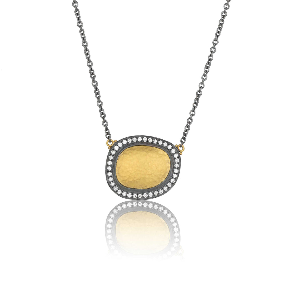 Lika Behar Reflections Necklace Diamonds 0.46 ctw 24K Yellow Gold and Oxidized Silver | Blacy's Fine Jewelers