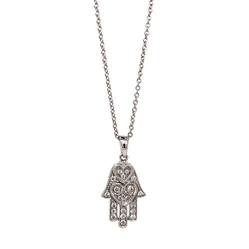 Double Heart Diamond Hamsa Hand Necklace 0.20 ctw 18K White Gold